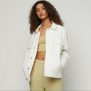 Oak + Fort Unisex Oversized White Jean Jacket